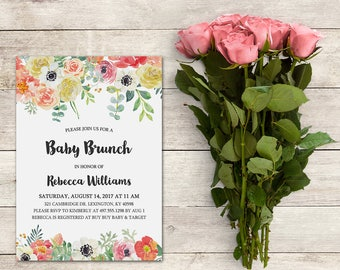 Baby Brunch Invitation, Floral Baby Shower Invite, Garden Theme, Shabby Chic Invite, Watercolor Flowers,Baby Shower Girl, Printable No. 1042