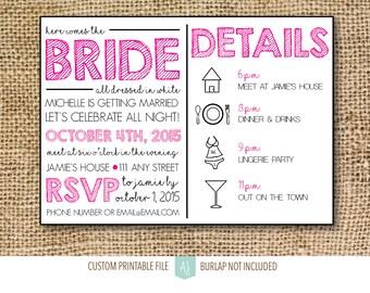 Bachelorette or Hen Party Invitation- Printable File- Pink and Black Invite