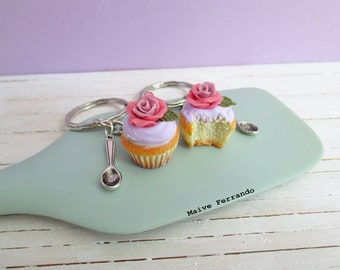 Vanilla Cupcake with Rose Bag Charm, Floral Polymer Clay Cupcake Keyring, Rose Cupcake Charms, Cupcake Accessories, Cupcake Jewellery