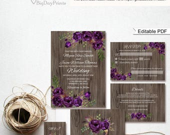 Wedding Invitation, Rustic Wood Floral Wedding Invitations, Wedding Invitation Set, #A044, Editable PDF - you personalize at home.