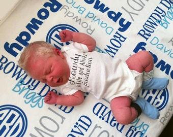 Personalized Baby Boy Blanket - Monogrammed Receiving Blanket - Custom Name Coming Home Baby Blanket - Fleece Hospital Swaddling Blanket