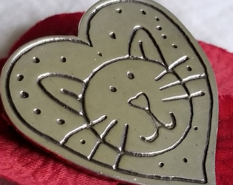 Sterling Silver Heart Pin/Brooch with Smiling Kitty Cat Face (st# 2221)