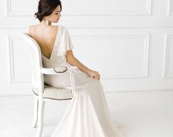 Wedding dress, ivory wedding dress, chiffon gown, train, Bridal Gown, Boho wedding dress, bohemian,bridal dress, bridal gown /Annabell