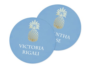 Pineapple Party Favor Tags, Gift Tags, Thank You Tags, Tropical Place Card Template Editable Acrobat Name Cards, Escort Cards, Seating Cards