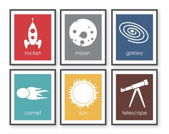 Astronomy Art, Outer Space Nursery, Rocket Art, Astronomy Decor, Boys Room Decor, Children Wall Art, Art for Kids Room - set of 6