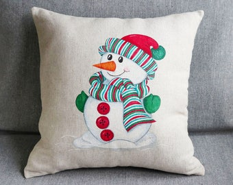 Xmas living decor gift Pillow for Christmas Ornament Xmas for her gift for sister Xmas Green decor Linen pillow cover Snowman for kid rooms