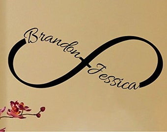 Personalized Custom Name with Infinity Symbol Love Wall Decal Sticker Art Mural Home Décor Quote Bedroom Marriage CHOOSE COLOR SIZES