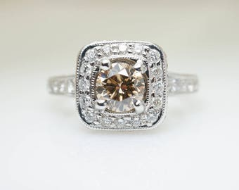 1.43CTW Natural Champagne Brown Diamond Halo Engagement Ring in 18k White Gold