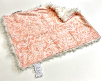 Coral Pink and White Floral Lace Baby Girl MINKY Lovey Blanket, MINI Minky Baby Blanket, Taggie Blanket, Baby Bedding, Baby Shower Gift