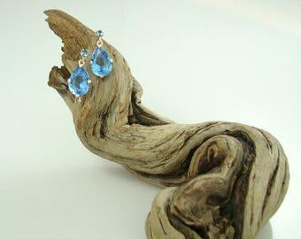 London Blue Topaz Drop Earrings, London Blue, Topaz, Drop Earrings,Women, Gifts,sterling silver,Ocean's Depth Earrings