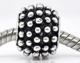 13 tab European beads 13 mm x 10 mm dots