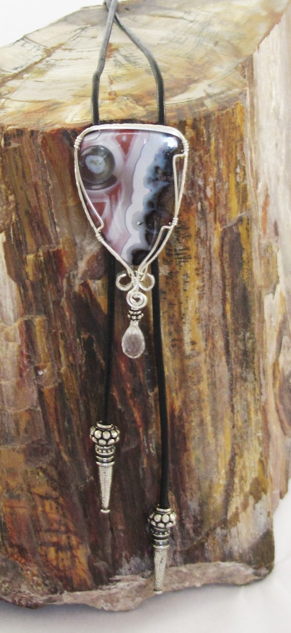 Sterling Silver Pattern Wire Wrapped Laguna Lace Agate &