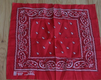 Vintage Classic Red Bandana Paisley Paris All Cotton Fast Color Made in USA