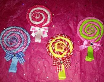 Lollipop ribbon hair clip