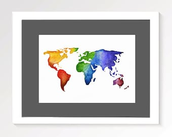 World Map Multicolour Print | World Watercolour | Watercolor Painting | Print | Decor | Wall Art | PRINT