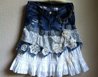 Country Denim Skirt With White  Cotton ,Patchwork And Lace