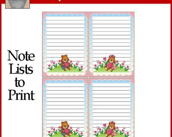 Love Bears Note Lists Printable Valentine