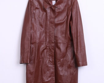 Reference Womens 44 L Long Leather Coat Jacket Brown Sheepskin