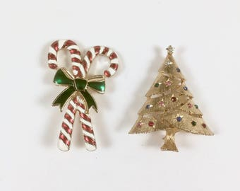 Brooch Pins, Candy Cane, Christmas Tree with Rhinestones, Gold Tone, Enamel, 2 Vintage Holiday Brooches, Holiday Jewelry