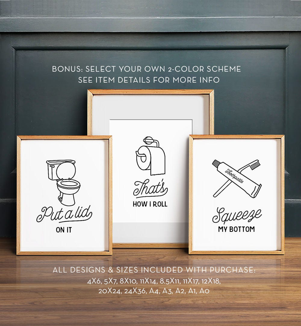 Funny Bathroom Wall Decor Magnificent Funny Wall Art Bathroom Art Printable Art Set Of 3 Design Ideas