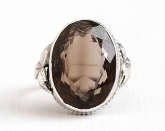 Sale - Antique Quartz Ring - Arts & Crafts Sterling Silver Smoky - 1910s Vintage Size 5 1/4 Est 9 Carat Genuine Dark Brown Gem Leaf Jewelry