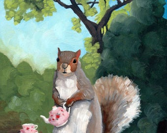 Squirrel with Tea - 8x8 print