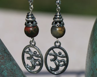 Om Charm on Picasso Jasper Bead Earrings--Comfort and Courage