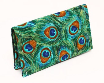 Business card holder, small handmade wallet, green business card organizer, fabric gift card case for women - green gold peacock feathers