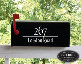 SALE!!! Classic Mailbox Street Address Numbers Vinyl Decal (E-004c)