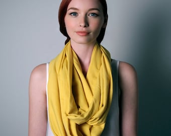 Infinity Scarf, Yellow Circle Scarf, Yellow Scarf, Yellow Infinity Scarf, Girlfriend, Mom Gift, Women's, Gift for Mom