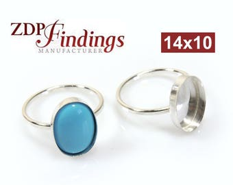2pcs x Oval 14x10mm Sterling Silver 925 Bezel Cup Ring Setting, Select Your Ring Size (R1410)