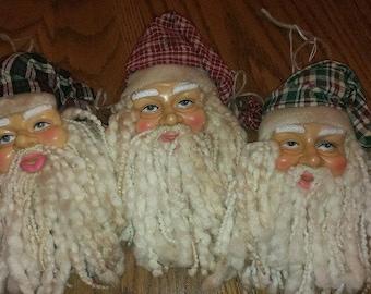 Antiqued/Rustic/Tea Dyed Santa Face Ornament