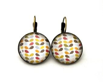 """Earrings sleepers """"Scandinavian flower"""" cabochon 20mm"""