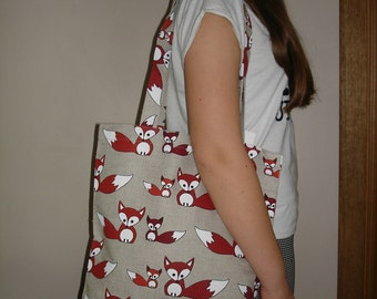 Linen Tote Bag With Foxes - Canvas Tote Bag - Natural Linen Bag - Foxes Pattern - With Foxes
