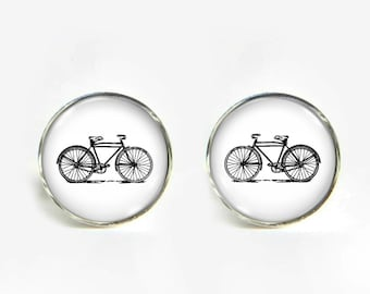 Bike small post stud earrings Stainless steel hypoallergenic 12mm Bicycle Gifts for her