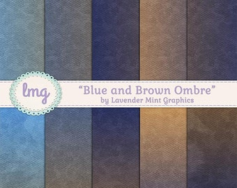 Ombre Watercolor Digital Papers, Blue and Brown, Vintage Background, Rustic Paper, Gradient Background, Watercolor Papers, Instant Download