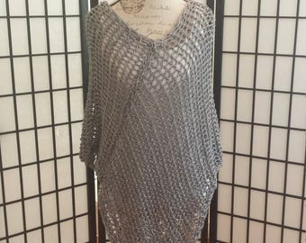 Hand Made Knitted Gray Poncho