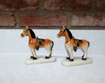 Vintage Japanese Horse Statues, Mid Century Animal Figurines, Horses, Glazed Figurines, Set of Two