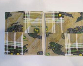 John Deere Tractors Inspired Flannel Pot Holders Hot Pads John Deere Mug Rugs Coasters Housewarming Gift Kitchen Accessory