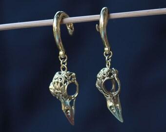 Bird skull brass ear weights