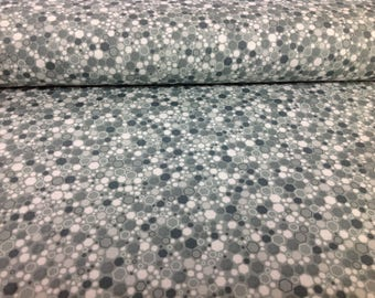 Hexagons by Basically Patrick Lose- Aqua/Grey- Cotton Fabric by RJR Fabrics, sold by the 1/2 yd, style 2034, color 14, Hexies Quilting