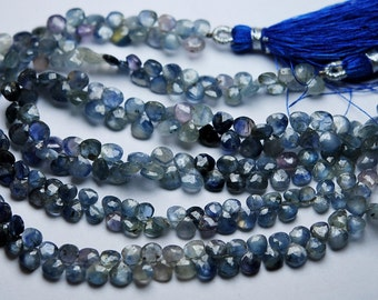 8 Inch Strand,Finest Quality,NATURAL Shaded Blue Sapphire Faceted Heart Shape Briolettes,3.5-4mm aprx