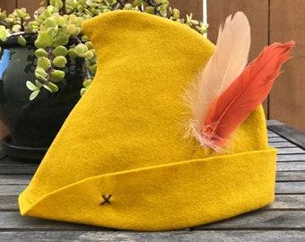 Mustard Yellow Peter Pan Hat with Cream & Orange Feathers