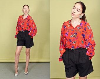 80s Black High Waisted Shorts Vintage Linen Pocket Belted Shorts