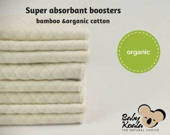 2 Cloth Diaper Inserts, organic cotton and bamboo, Cloth Nappy Insert, organic Insert