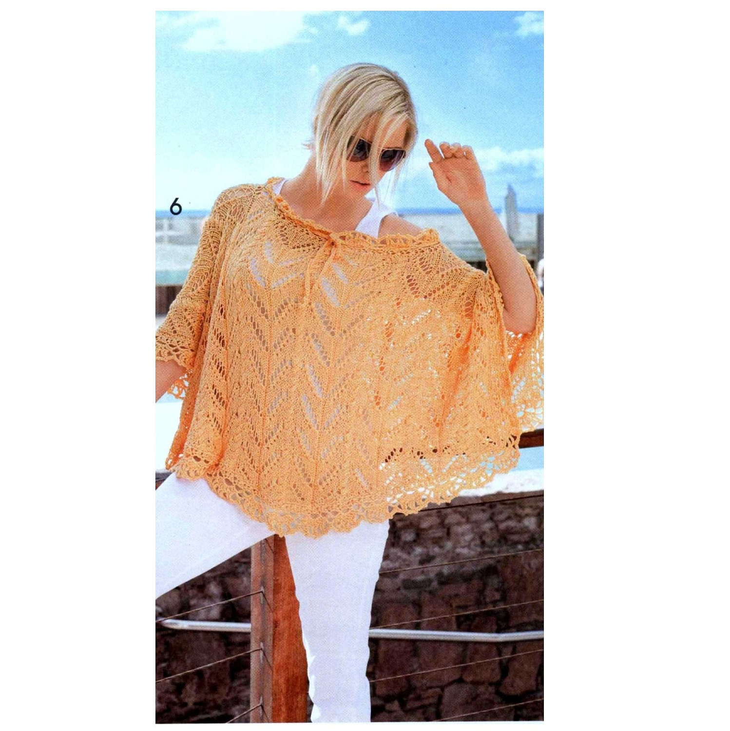 Vintage Knitting and Crochet Pattern CHART Summer Lace Poncho Beach ...