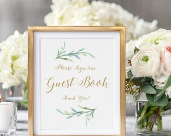 "Greenery Guest Book Wedding Sign Printable. Printable Guest book sign, Please sign our Guest Book Wedding Signage, 8x10"" and 5x7"""