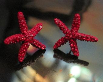 Red Starfish Earrings - Stud Earrings - Rhinestone Starfish Earrings - Beach Earrings - Beach Wedding - Nautical Jewelry