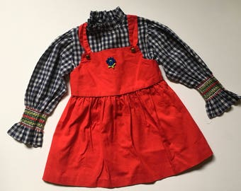 1970's Red & Blue Gingham Dress Smocked Sleeves (3t/4t)