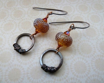 handmade copper and lampwork glass orange earrings, UK jewellery